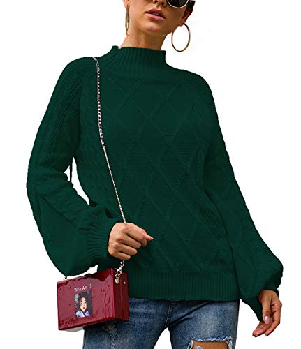 BTFBM Women Mock Turtleneck Cable Knit Long Loose Lantern Sleeve Solid Color Fashion Warm Sweater Pullover Tops (Green, Small)