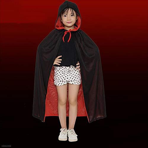 Disfraces De Halloween Niños Adultos Capa De Muerte Rojo Y Negro De Doble Cara con Capucha Vampiro Niños Y Niñas Ropa De...
