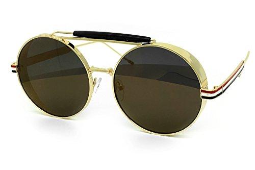 O2 Eyewear 7126 Premium Oversize Steampunk Flat Aviator Vintage Hippie Retro Mirrored Revo Sunglasses (Steampunk, - Sunglasses Vintage Revo