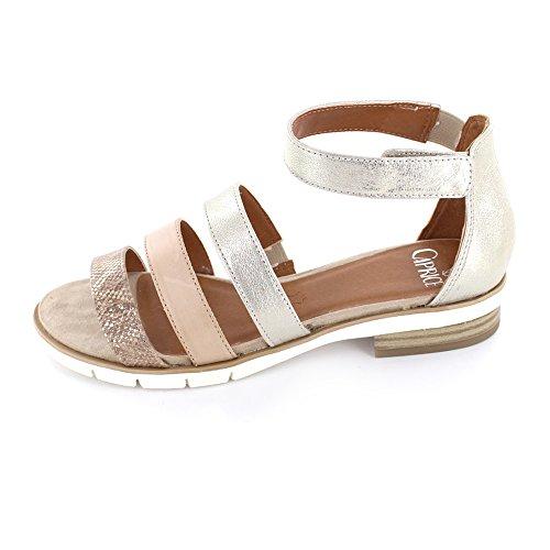 Caprice Flache Damen Sandalette Aus Leder/Synthetik in Gold light gold multi
