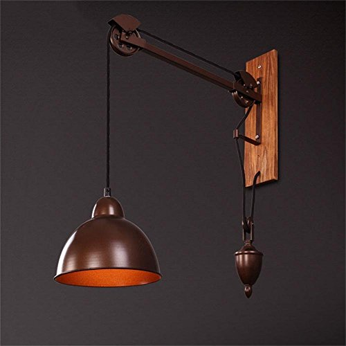 HOMEE Wall lamp- pastoral style retro industrial wall wood creative personality long arm coffee shop drawstring wall light --wall lighting decorations by HOMEE