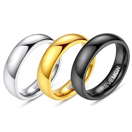 REVEMCN 2mm 3mm 4mm 5mm 6mm Stainless Steel Polished Finish Wedding Band Ring for Men Women 3 Color a Set (5mm, 11) -