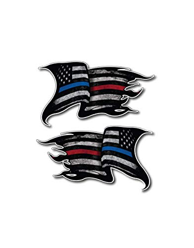 Pack of 2 THIN BLUE AND RED LINE to show support for Police and Firemen Decal Sticker Firefighter American Flag Vinyl Punisher Skull Tattered Distressed Fallen Officer Thin Blue Line Car Truck Graphic ()
