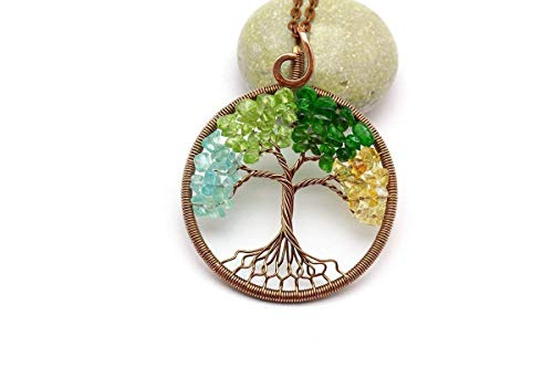 Copper Tree Of Life Necklace Wire Wrapped Jewelry Four Seasons Pendant Protection Amulet Gift Women