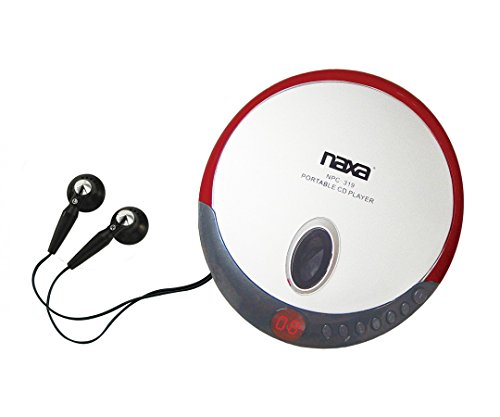 Naxa NPC-319 Slim Personal Compact Disc Player with Stereo Earphones, CD & CD-R Compatible, 2 Way Power, Programmable Track Memory, LCD Display, Red by Naxa Electronics