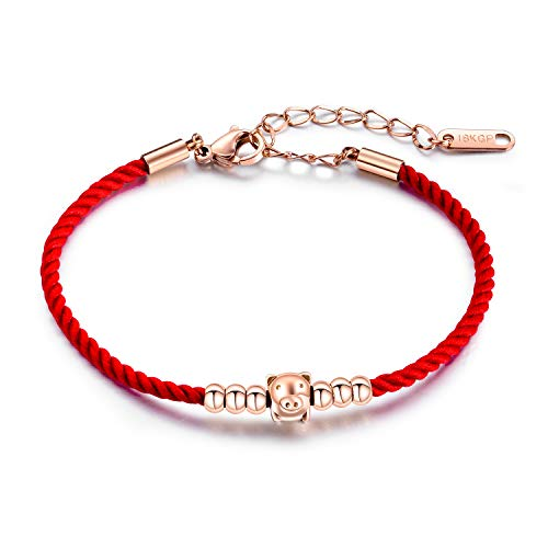 MONIYA Chinese Zodiac Sign Pig Charm Bracelet for Women Cubic Zirconia Red Rope Good Luck Symbol Jewelry