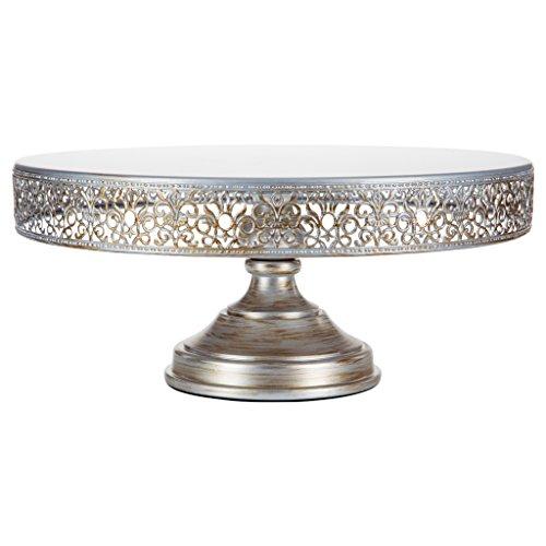 Victoria Antique Silver 16 Inch Cake Stand, Round Metal Wedding Birthday Party Dessert Cupcake Pedestal Display Plate (Silver Large Tray Round)