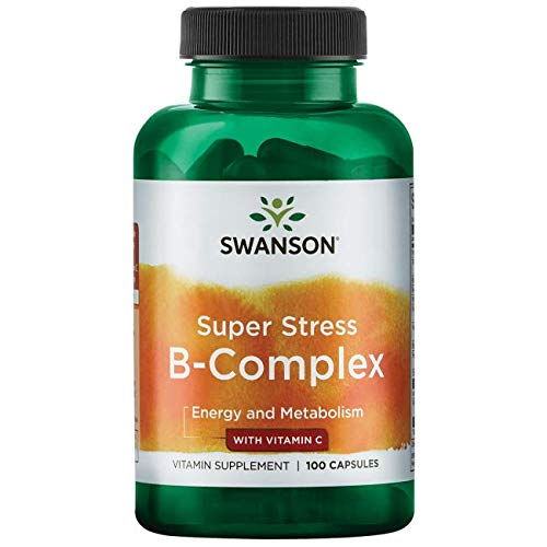 B-100 Complex Super (Swanson B Vitamin Stress Complex with Vitamin C Stress Relief Energy Immune Health 500 mg 100 Capsules)