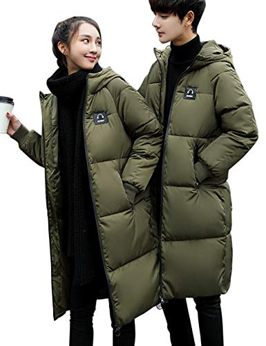 Ladies Men's Padded BESBOMIG Breathable Hooded Jackets Coat Couples Medium Length Keep Warm Clothes Cotton Fashion Green Quilted dAqz5q