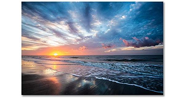 South Carolina Coatal Sunrise Landscape Framed Matte Paper Poster Folly Beach Sunrise Ocean Photography