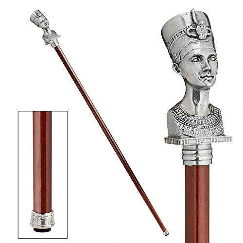 Design Toscano The Padrone Collection: Bust of Egyptian Queen Nefertiti Pewter Walking Stick (Egyptian Cane Walking)