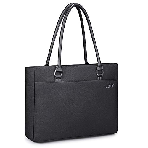 S-ZONE Women Laptop Tote Bag Water Resistant Nylon Work Shoulder Bag Office Briefcase for 15.6 Inch Computer(Black)