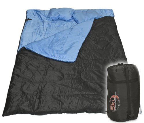 Huge Double Sleeping Bag 23F/-5C 2 Person Camping Hiking 86″x60″ W/2 Pillows New, Outdoor Stuffs