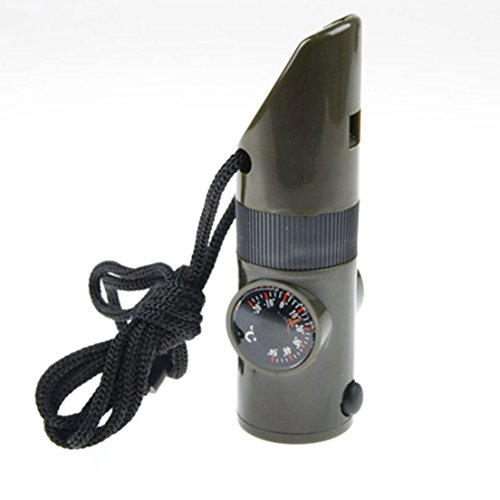 1Pc Top Level Popular Keychain 7in1 LED Flashlight Viewfinder Pocket Mirror Military Gift Color Olive Green