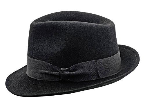 Sterkowski Rabbit Fur Felt Classic Trilby Hat US 7 1/8 Black (Fur Felt Hat)