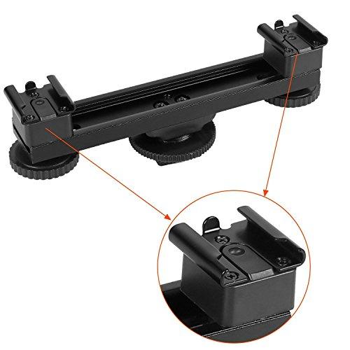 Crazefoto Universal 1 to 2 Hot Shoe Extension Bar Mount Dual Bracket for Canon Nikon Sony DSLR Camera Camcorder DV Flash LED Light Microphone SLR Rig