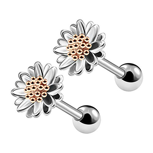 BIG GAUGES Pair of Surgical Steel 16g Gauge 1.2mm 6mm Rose Anodized Daisy Flower Piercing Tragus Helix Cartilage Ear Stud Earring BG4887 (Daisy Gauges)