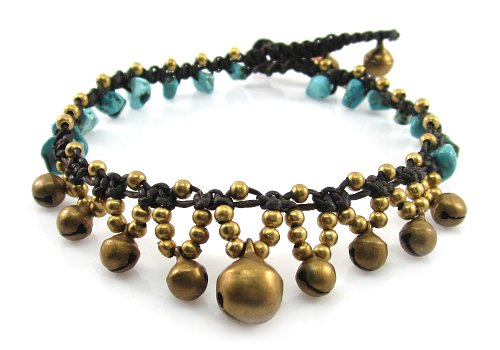 MGD, Blue Turquoise Color Bead and Brass Bells Anklet, Handmade Fashion Jewelry For Women, Teens and Girls, JB-0169A