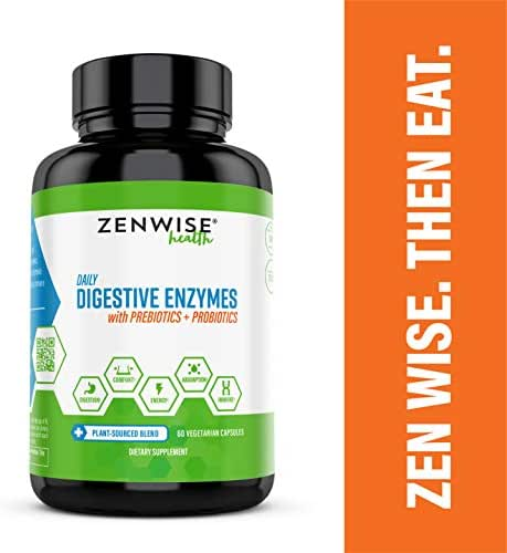 Digestive Enzymes Plus Prebiotics & Probiotics - Natural Support for Better Digestion & Lactose Absorption - For Bloating & Constipation + Gas Relief & Leaky Gut - 60 Vegetarian Capsules