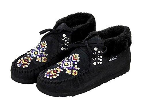 Montana West Cross Western Ankle Boots Moccasins Black (8, BLACK AZTEC CROSS)