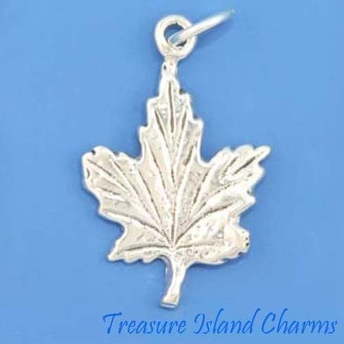 CANADIAN CANADA MAPLE LEAF .925 Solid Sterling Silver Charm Pendant MADE IN USA Jewelry Making Supply Pendant Bracelet DIY Crafting by Wholesale Charms