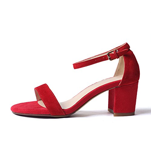 VIVIOO High Heels Schuhe mit Hohen Absätzen Wort Schnalle Thick-Heel Sandaletten Damen Sommer Wild Heel Peep-Toe Heels ROT 5.5CM