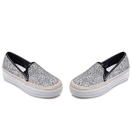 AllhqFashion Damen Rein Pailletten Mittler Absatz Rund Zehe Ziehen auf Pumps Schuhe Silber