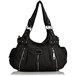 Scarleton 3 Front Zipper Washed Shoulder Bag H129201 - Black