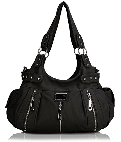 Scarleton Satchel Handbag for Women, Ultra Soft Washed Vegan Leather Crossbody Bag, Shoulder Bag, Tote Purse, Black, H129201 ()
