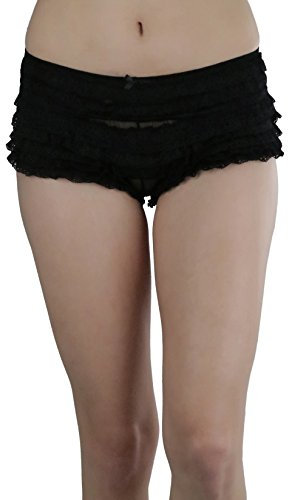ToBeInStyle Women's Chiffon Ruffle Lace Trim Polyester Blend Booty Shorts - Black