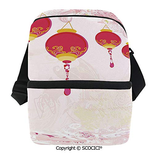 (SCOCICI Thermal Insulation Bag New Year of Chinese Calendar Celebrations Eastern Imagery Abstract Asian Art Decorative Lunch Bag Organizer for Women Men Girls Work School Office)