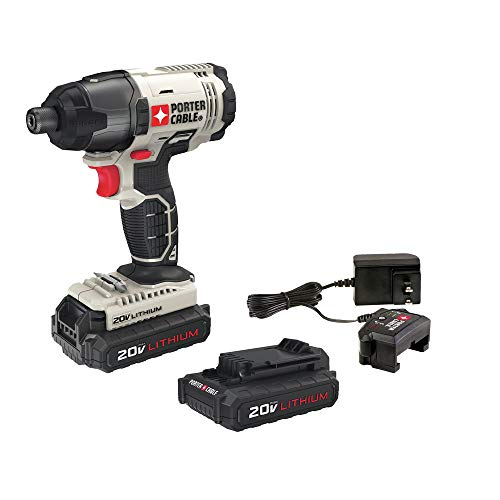 Porter-Cable PCC641LBR 20V MAX Cordless Lithium-Ion 1/4 in. Hex Impact Driver Kit (Renewed)