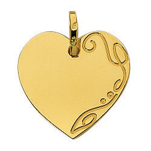 So Chic Bijoux © Pendentif Plaque Coeur Gravée Côté Droit Or Jaune 750/000 (18 carats) - Personnalisable : Gravure offerte