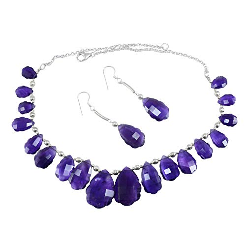 (Handmade Jewelry Manufacturer Deep Purple Amethyst, 925 Sterling Silver Ball with Rolo-Chain, Lobster-Claw Necklace Set Jaipur Rajasthan India )