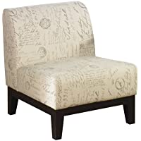 Avenue Six Glen Armless Accent Chair with Espresso Legs, Script