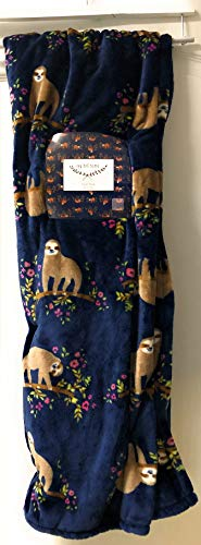 Ivy Hill Sloths Hanging in Garden Blue Plush Throw 50 X 70 in