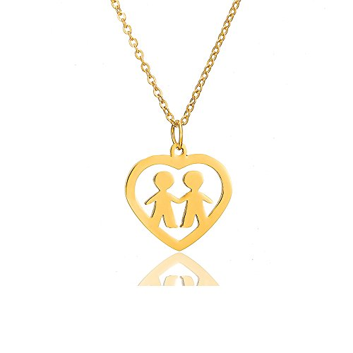 AOCHEE Son Daughter Two Kids Twins Family Pendant Necklace with Heart (Two boy-Gold)