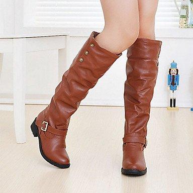 RTRY Zapatos De Mujer Moda Otoño Invierno Pu Confort Botas Botas Talón Plano Ronda Toe Hebilla Para Oficina &Amp; Carrera Vestido Amarillo Negro Marrón US6.5-7 / EU37 / UK4.5-5 / CN37