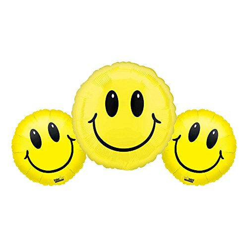 - Yellow Smiley Face Foil Balloon Bundle - Set of 3
