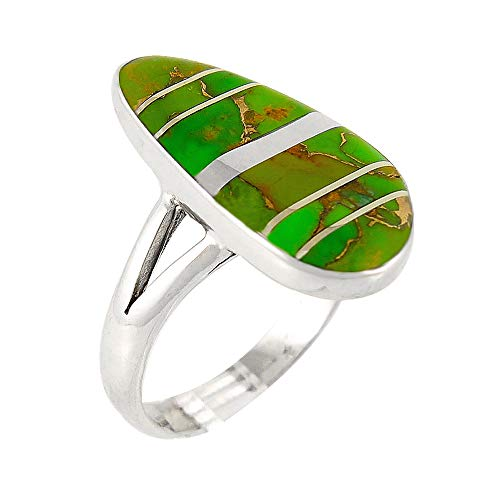 - Sterling Silver Ring Genuine Turquoise & Gemstones (SELECT COLOR) (Green Turquoise, 10)