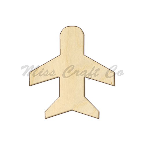 Airplane Wood Shape Cutout, Wood Craft Shape, Unfinished Wood, DIY Project. All Sizes Available, Small to Big. Made in the USA. 6 X 5.5 INCHES