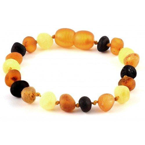 Raw Baltic Amber Baby Bracelet/Anklet Baroque Multicolour RBTB32 By Amber Corner (Bracelet Shape Amber)