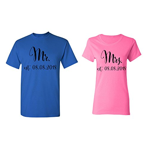 Mr. - Mrs. Personalized Couple Matching Shirt Set Newly Married Customized Valentines Day Men Royal Blue/Women Pink