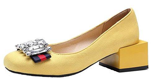 AllhqFashion Damen Rein Nubukleder Mittler Absatz Quadratisch Zehe Schnüren Pumps Schuhe Gelb