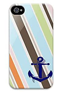 Blue Anchor Stripe PC Hard new case iphone 4