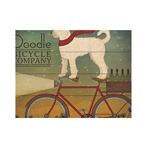 Trademark Fine Art White Doodle on Bike Summer by Ryan Fowler, Wood Slats 12x16, Multi-Color (Best Value Hybrid Bike)