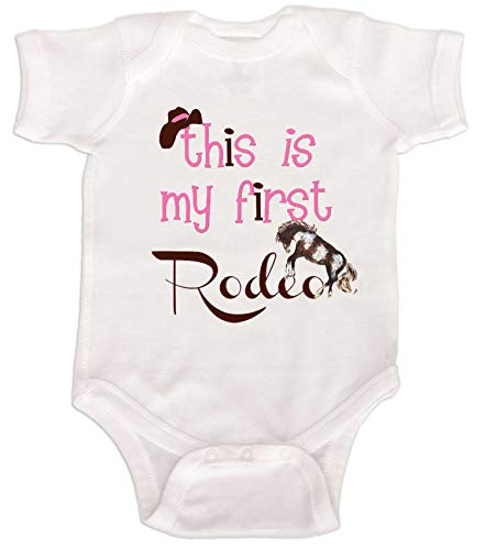 Mumsy Goose Baby Girls' Bodysuit First Rodeo 12M White