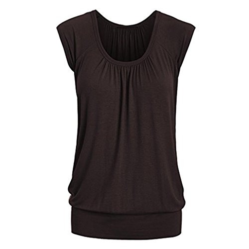 (Fashion Women Newest Summer Casual O-Neck Solid Short Wrinkle Sleeve T-Shirt Top Blouse (Brown, XL))
