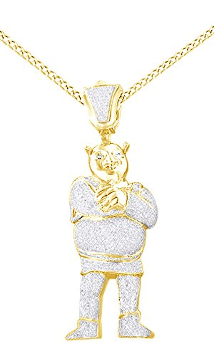 White Cubic Zirconia Men's Hip Hop Shrek Pendant In 14K Yellow Gold Over Sterling Silver by AFFY