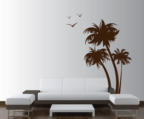 Innovative Stencils 1132 84 Mblack Palm Coconut Tree Nursery Wall Decal  With Seagull Birds, White   Nursery Wall Decor   Amazon.com